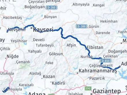 Adıyaman Nevşehir Arası Kaç Km - Kaç Saat? Arası Kaç Km Saat? Nerede Yol Haritası Yakıt, Rota ve Mesafe Hesaplama
