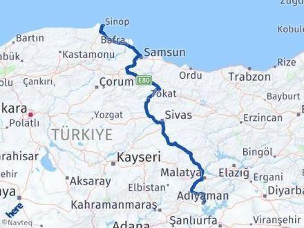 Adıyaman Sinop Arası Kaç Km - Kaç Saat? Arası Kaç Km Saat? Nerede Yol Haritası Yakıt, Rota ve Mesafe Hesaplama