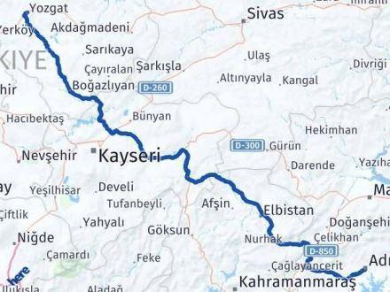 Adıyaman Yozgat Arası Kaç Km - Kaç Saat? Arası Kaç Km Saat? Nerede Yol Haritası Yakıt, Rota ve Mesafe Hesaplama