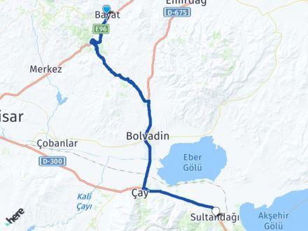 Bayat Afyon Sultandağı Arası Kaç Km? Arası Kaç Km Saat? Nerede Yol Haritası Yakıt, Rota ve Mesafe Hesaplama