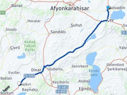 Afyon Bolvadin Dazkırı Arası Kaç Km? Arası Kaç Km Saat? Nerede Yol Haritası Yakıt, Rota ve Mesafe Hesaplama