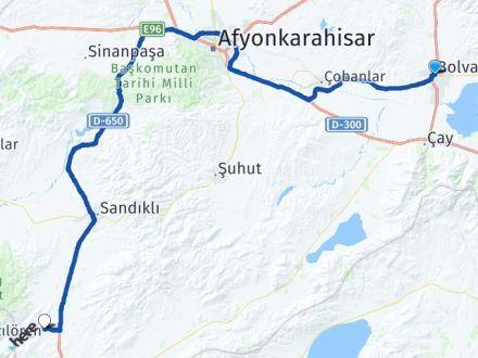 Afyon Bolvadin Kızılören Arası Kaç Km? Arası Kaç Km Saat? Nerede Yol Haritası Yakıt, Rota ve Mesafe Hesaplama