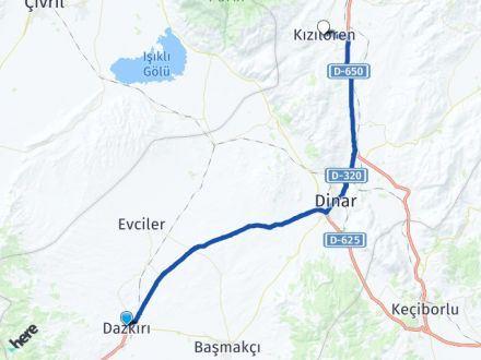 Afyon Dazkırı Kızılören Arası Kaç Km? Arası Kaç Km Saat? Nerede Yol Haritası Yakıt, Rota ve Mesafe Hesaplama