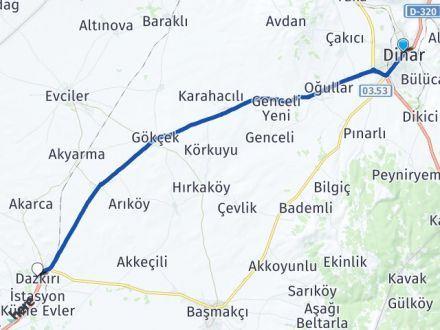Afyon Dinar Dazkırı Arası Kaç Km? Arası Kaç Km Saat? Nerede Yol Haritası Yakıt, Rota ve Mesafe Hesaplama
