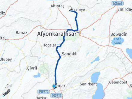 Afyon Dinar İhsaniye Arası Kaç Km? Arası Kaç Km Saat? Nerede Yol Haritası Yakıt, Rota ve Mesafe Hesaplama