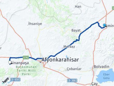 Afyon Emirdağ Sinanpaşa Arası Kaç Km? Arası Kaç Km Saat? Nerede Yol Haritası Yakıt, Rota ve Mesafe Hesaplama