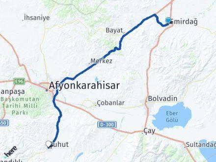 Afyon Emirdağ Şuhut Arası Kaç Km? Arası Kaç Km Saat? Nerede Yol Haritası Yakıt, Rota ve Mesafe Hesaplama