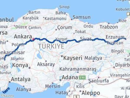 Afyon Erzurum Arası Kaç Km - Kaç Saat? Arası Kaç Km Saat? Nerede Yol Haritası Yakıt, Rota ve Mesafe Hesaplama