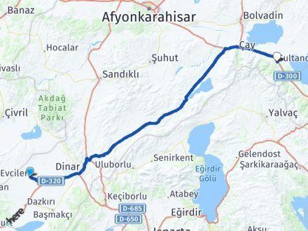 Afyon Evciler Sultandağı Arası Kaç Km? Arası Kaç Km Saat? Nerede Yol Haritası Yakıt, Rota ve Mesafe Hesaplama