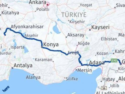Afyon Gaziantep Arası Kaç Km - Kaç Saat? Arası Kaç Km Saat? Nerede Yol Haritası Yakıt, Rota ve Mesafe Hesaplama