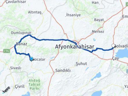 Afyon Hocalar Bolvadin Arası Kaç Km? Arası Kaç Km Saat? Nerede Yol Haritası Yakıt, Rota ve Mesafe Hesaplama