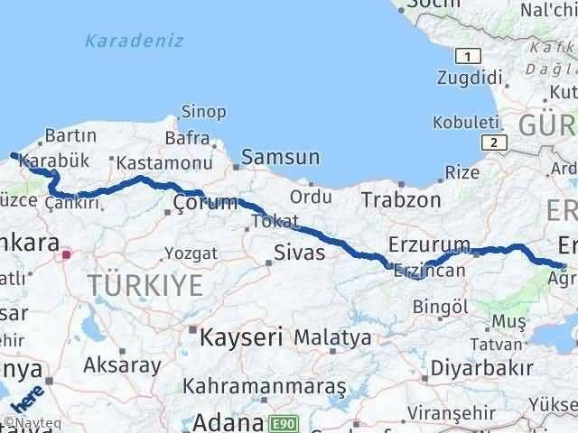 Ağrı ile Zonguldak Arası Kaç Km? Kaç Saat? Arası Kaç Km Saat? Nerede Yol Haritası Yakıt, Rota ve Mesafe Hesaplama