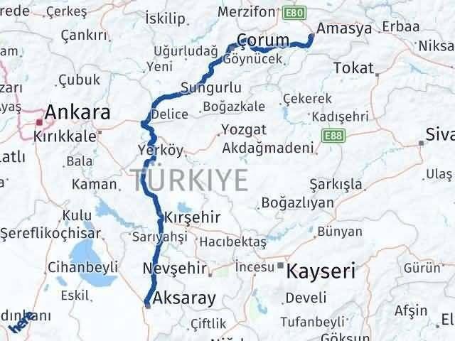 Amasya Aksaray Arası Kaç Km - Kaç Saat? Arası Kaç Km Saat? Nerede Yol Haritası Yakıt, Rota ve Mesafe Hesaplama
