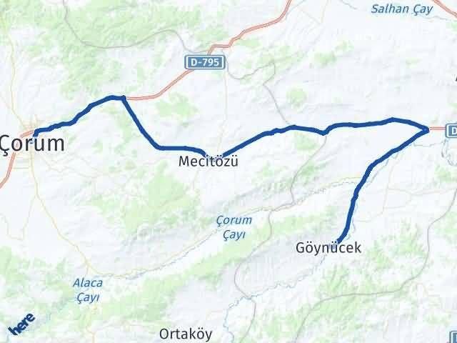 Amasya Göynücek   Çorum Arası Kaç Km? Arası Kaç Km Saat? Nerede Yol Haritası Yakıt, Rota ve Mesafe Hesaplama