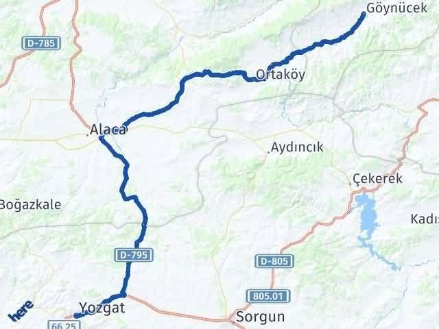 Amasya Göynücek   Yozgat Arası Kaç Km? Arası Kaç Km Saat? Nerede Yol Haritası Yakıt, Rota ve Mesafe Hesaplama