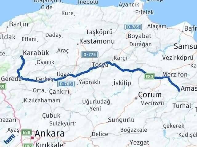Amasya ile Karabük Arası Kaç Km? Kaç Saat? Arası Kaç Km Saat? Nerede Yol Haritası Yakıt, Rota ve Mesafe Hesaplama