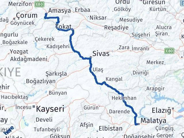 Amasya ile Malatya Arası Kaç Km? Kaç Saat? Arası Kaç Km Saat? Nerede Yol Haritası Yakıt, Rota ve Mesafe Hesaplama