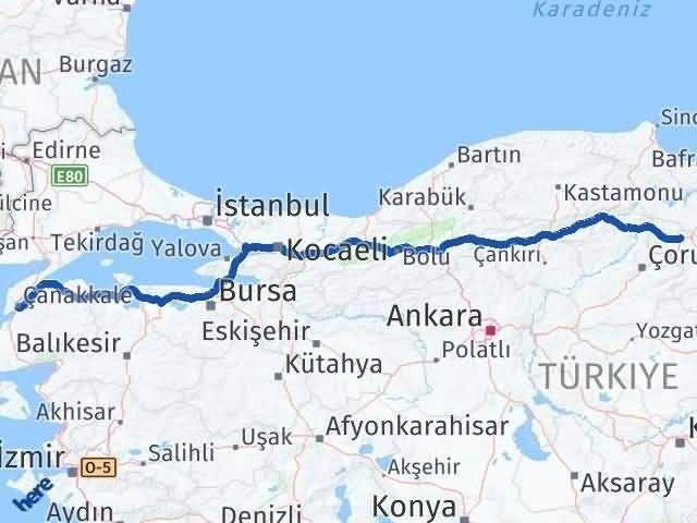 Amasya Merzifon   Çanakkale Arası Kaç Km? Arası Kaç Km Saat? Nerede Yol Haritası Yakıt, Rota ve Mesafe Hesaplama