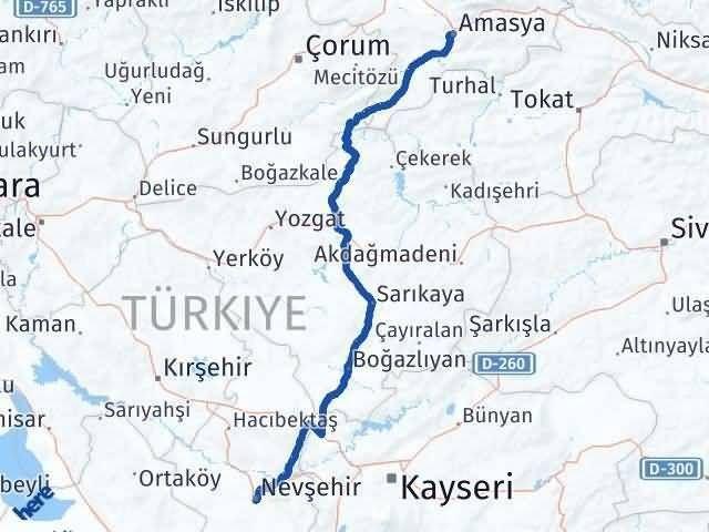Amasya Nevşehir Arası Kaç Km? Kaç Saat? - Km hesaplama Arası Kaç Km Saat? Nerede Yol Haritası Yakıt, Rota ve Mesafe Hesaplama
