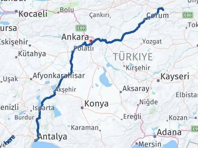 Amasya Suluova Antalya Arası Kaç Km? Arası Kaç Km Saat? Nerede Yol Haritası Yakıt, Rota ve Mesafe Hesaplama