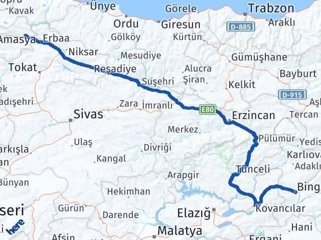 Amasya Taşova   Bingöl Arası Kaç Km? Arası Kaç Km Saat? Nerede Yol Haritası Yakıt, Rota ve Mesafe Hesaplama