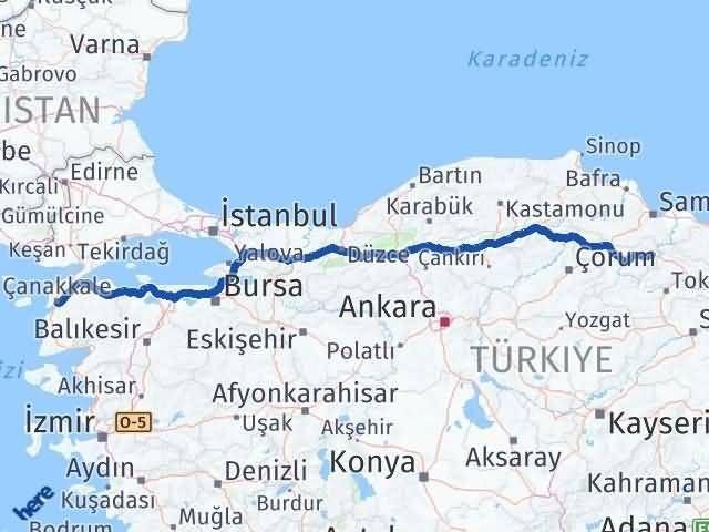 Amasya Taşova   Çanakkale Arası Kaç Km? Arası Kaç Km Saat? Nerede Yol Haritası Yakıt, Rota ve Mesafe Hesaplama