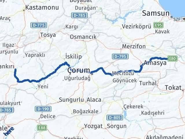 Amasya Taşova   Çankırı Arası Kaç Km? Arası Kaç Km Saat? Nerede Yol Haritası Yakıt, Rota ve Mesafe Hesaplama