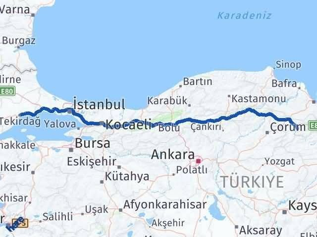 Amasya Tekirdağ Arası Kaç Km - Kaç Saat? Arası Kaç Km Saat? Nerede Yol Haritası Yakıt, Rota ve Mesafe Hesaplama
