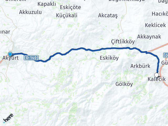 Ankara Akyurt Kalecik Arası Kaç Km? Arası Kaç Km Saat? Nerede Yol Haritası Yakıt, Rota ve Mesafe Hesaplama