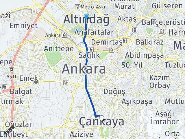 Ankara Altındağ Çankaya Arası Kaç Km? Arası Kaç Km Saat? Nerede Yol Haritası Yakıt, Rota ve Mesafe Hesaplama