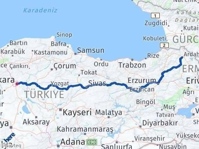 Ankara ile Ardahan Arası Kaç Km? Kaç Saat? Arası Kaç Km Saat? Nerede Yol Haritası Yakıt, Rota ve Mesafe Hesaplama
