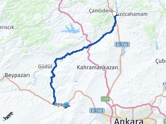 Ankara Ayaş Kızılcahamam Arası Kaç Km? Arası Kaç Km Saat? Nerede Yol Haritası Yakıt, Rota ve Mesafe Hesaplama