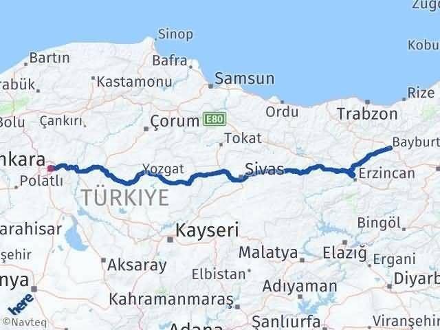 Ankara ile Bayburt Arası Kaç Km? Kaç Saat? Arası Kaç Km Saat? Nerede Yol Haritası Yakıt, Rota ve Mesafe Hesaplama