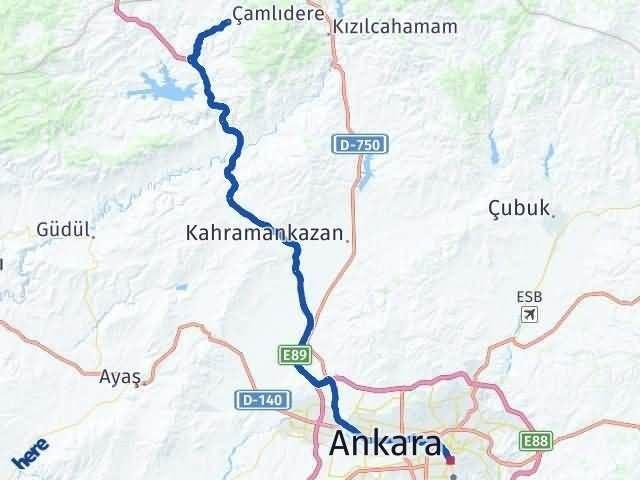 Ankara Çamlıdere Arası Kaç Km Arası Kaç Km Saat? Nerede Yol Haritası Yakıt, Rota ve Mesafe Hesaplama