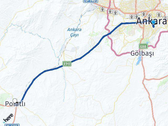 Ankara Çankaya Polatlı Arası Kaç Km? Arası Kaç Km Saat? Nerede Yol Haritası Yakıt, Rota ve Mesafe Hesaplama