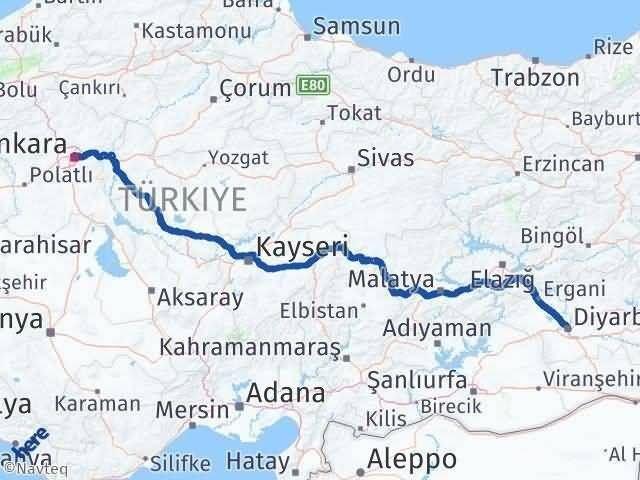 Ankara ile Diyarbakır Arası Kaç Km? Kaç Saat? Arası Kaç Km Saat? Nerede Yol Haritası Yakıt, Rota ve Mesafe Hesaplama