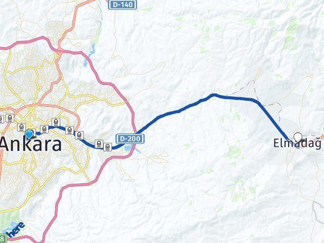 Ankara Elmadağ Arası Kaç Km? Yol Haritası - Km Hesaplama Arası Kaç Km Saat? Nerede Yol Haritası Yakıt, Rota ve Mesafe Hesaplama