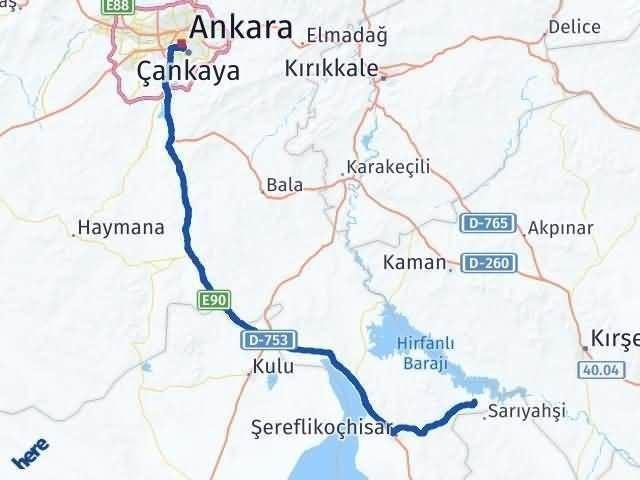 Ankara Evren Arası Kaç Km? Yol Haritası - Km Hesaplama Arası Kaç Km Saat? Nerede Yol Haritası Yakıt, Rota ve Mesafe Hesaplama