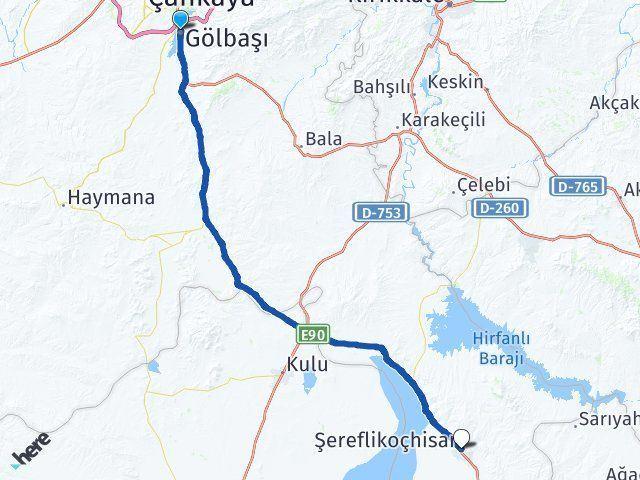 Gölbaşı Ankara Şereflikoçhisar Arası Kaç Km? Arası Kaç Km Saat? Nerede Yol Haritası Yakıt, Rota ve Mesafe Hesaplama
