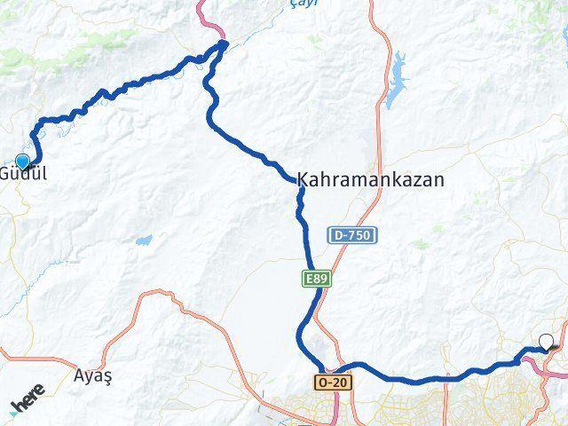 Ankara Güdül Pursaklar Arası Kaç Km? Arası Kaç Km Saat? Nerede Yol Haritası Yakıt, Rota ve Mesafe Hesaplama