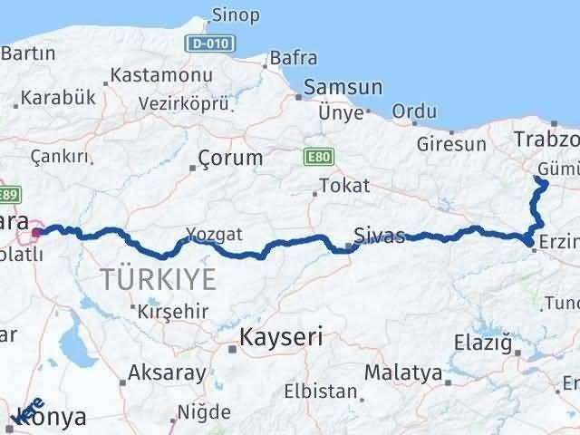 Ankara ile Gümüşhane Arası Kaç Km? Kaç Saat? Arası Kaç Km Saat? Nerede Yol Haritası Yakıt, Rota ve Mesafe Hesaplama