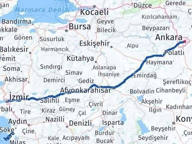 Ankara İzmir Arası Kaç Km - Kaç Saat? Arası Kaç Km Saat? Nerede Yol Haritası Yakıt, Rota ve Mesafe Hesaplama