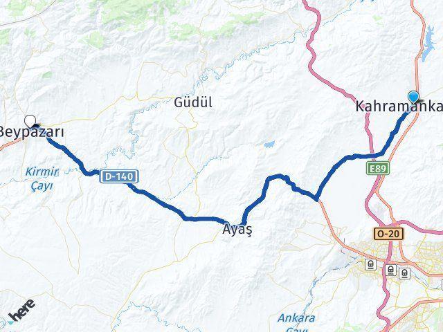 Ankara Kahramankazan Beypazarı Arası Kaç Km? Arası Kaç Km Saat? Nerede Yol Haritası Yakıt, Rota ve Mesafe Hesaplama