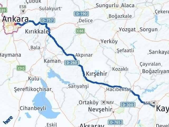 Ankara ile Kayseri Arası Kaç Km? Kaç Saat? Arası Kaç Km Saat? Nerede Yol Haritası Yakıt, Rota ve Mesafe Hesaplama