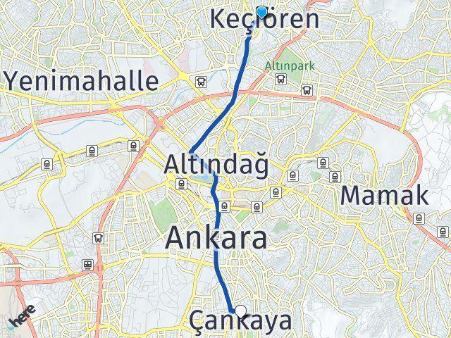 Ankara Keçiören Çankaya Arası Kaç Km? Arası Kaç Km Saat? Nerede Yol Haritası Yakıt, Rota ve Mesafe Hesaplama