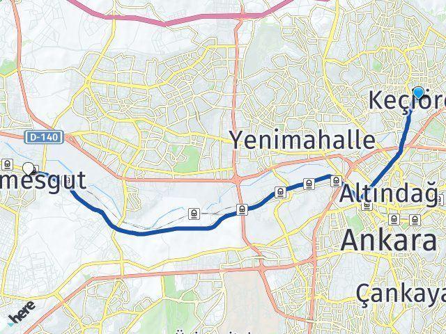 Ankara Keçiören Etimesgut Arası Kaç Km? Arası Kaç Km Saat? Nerede Yol Haritası Yakıt, Rota ve Mesafe Hesaplama