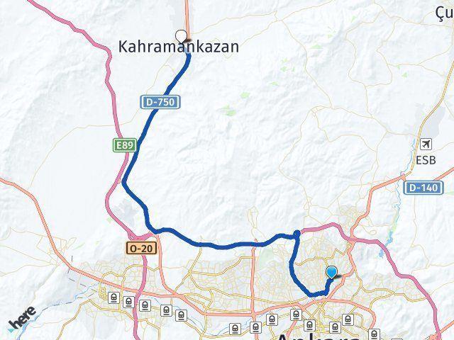 Ankara Keçiören Kahramankazan Arası Kaç Km? Arası Kaç Km Saat? Nerede Yol Haritası Yakıt, Rota ve Mesafe Hesaplama