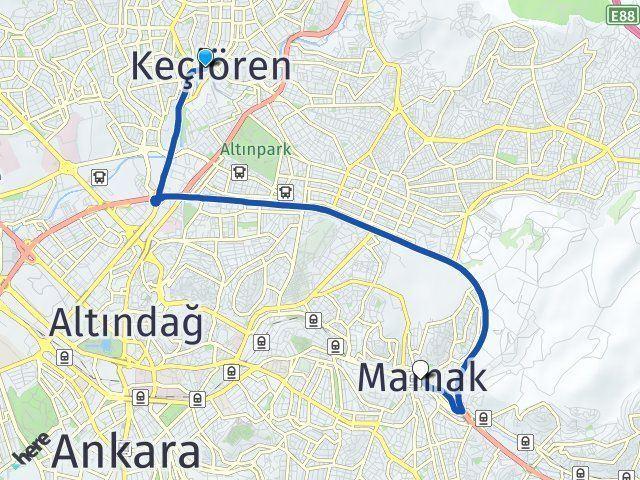 Ankara Keçiören Mamak Arası Kaç Km? Arası Kaç Km Saat? Nerede Yol Haritası Yakıt, Rota ve Mesafe Hesaplama