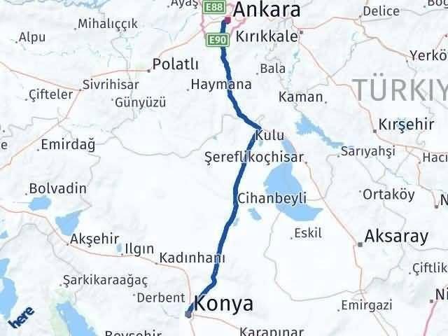 Ankara Konya Arası Kaç Km - Kaç Saat? Arası Kaç Km Saat? Nerede Yol Haritası Yakıt, Rota ve Mesafe Hesaplama