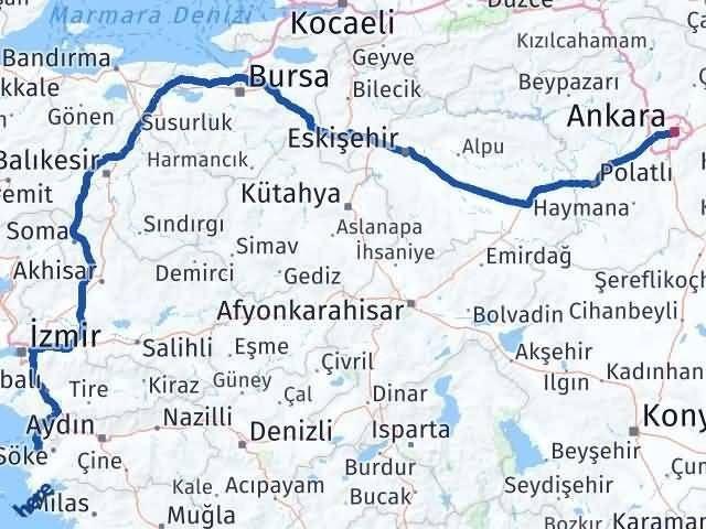 Ankara Kuşadası Aydın Arası Kaç Km? - Km hesaplama Arası Kaç Km Saat? Nerede Yol Haritası Yakıt, Rota ve Mesafe Hesaplama